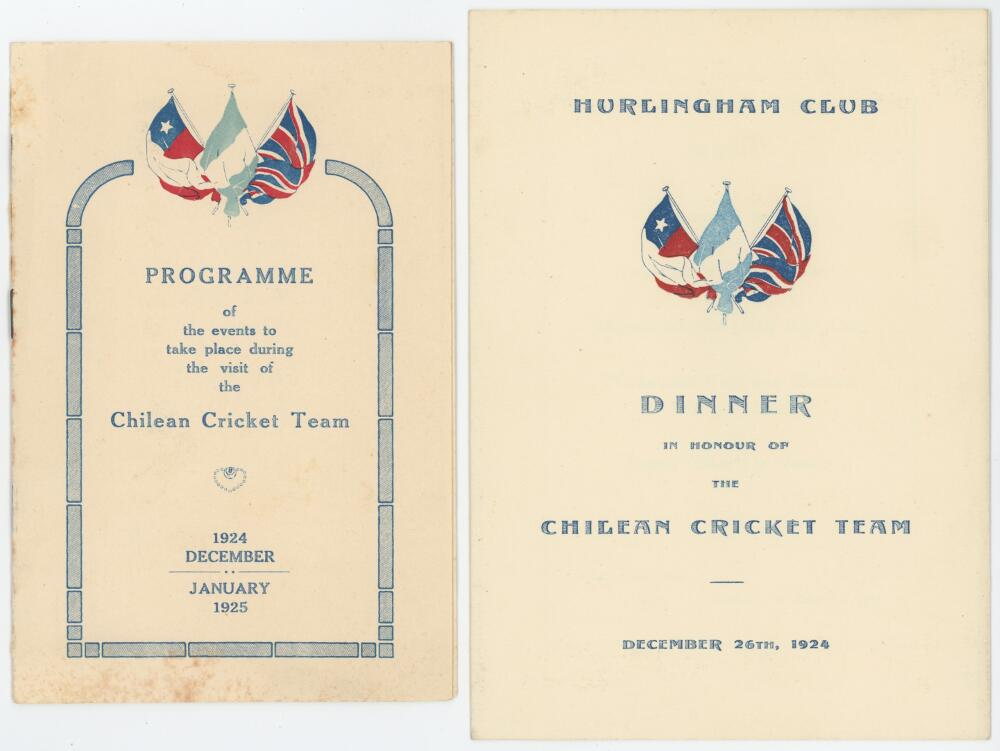 Lot 3 - Chile tour to Argentina 1924/25. A selection of official ephemera relating to the Chile tour of