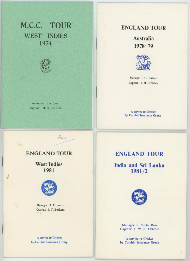 Lot 5 - M.C.C. and England tour itineraries 1974-1982. Four official players' itineraries for the tours to