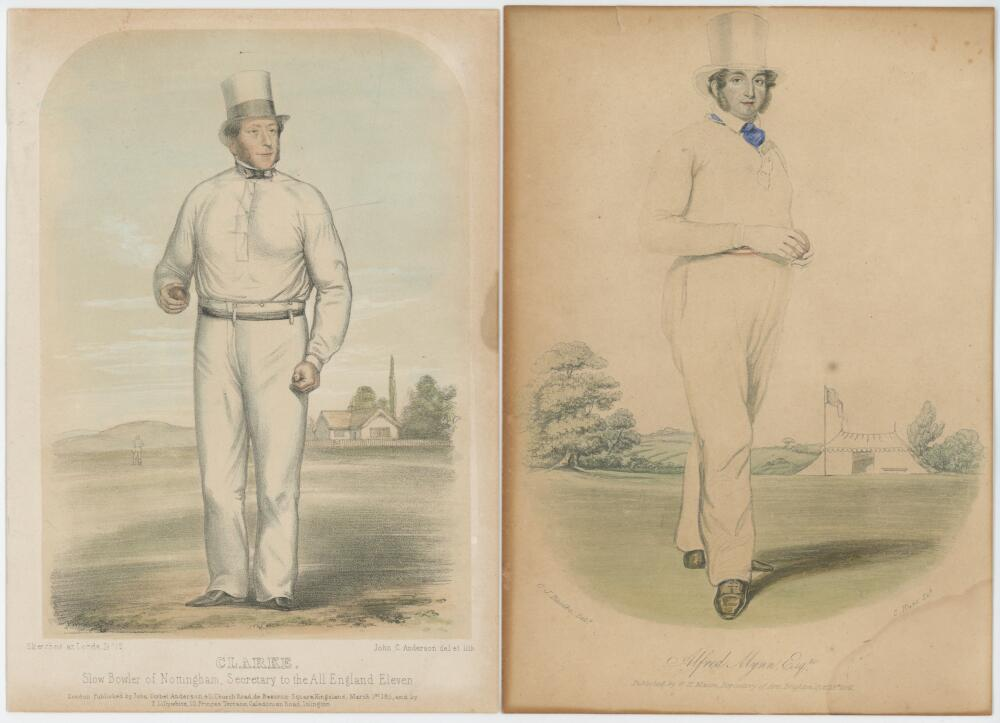 Lot 706 - 'Sketches at Lord's'. Collection of eleven original hand coloured lithographs of 'Mr James Henry
