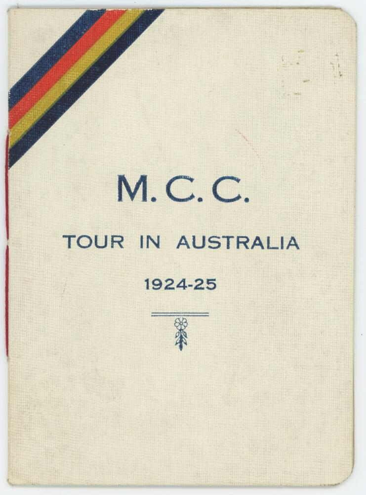 Lot 4 - M.C.C. tour of Australia 1924/25. Official players' itinerary for the tour, the front cover with