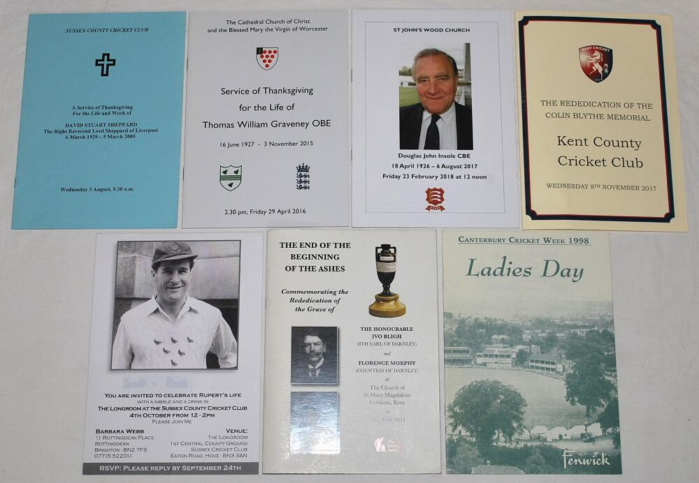 Lot 23 - Cricket orders of service. Three official orders of service for David Sheppard 2005, Tom Graveney