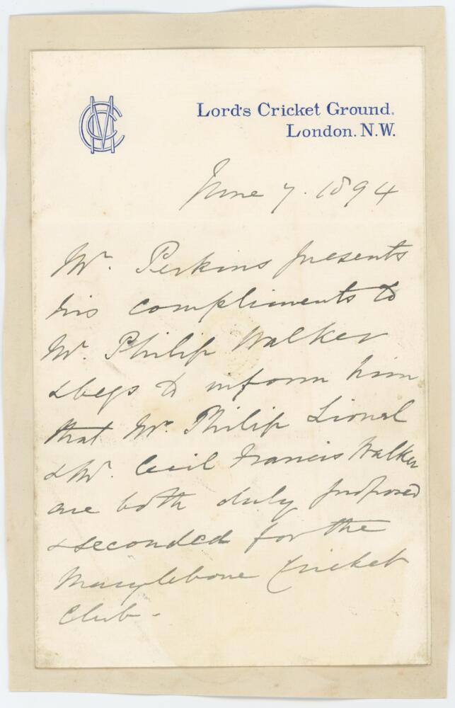 Lot 55 - Henry Perkins. Cambridge University, Cambridgeshire & M.C.C. 1854-1868. Single page handwritten