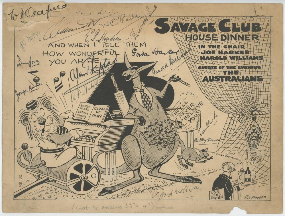 Lot 41 - 'Savage Club House Dinner' 1934. Original printed single card menu for the dinner for 'Guests of the