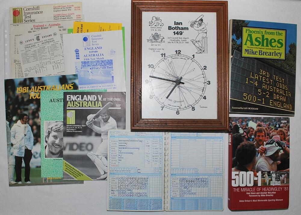 Lot 24 - The Ashes. England v Australia 1981. Two boxes comprising a comprehensive selection of ephemera