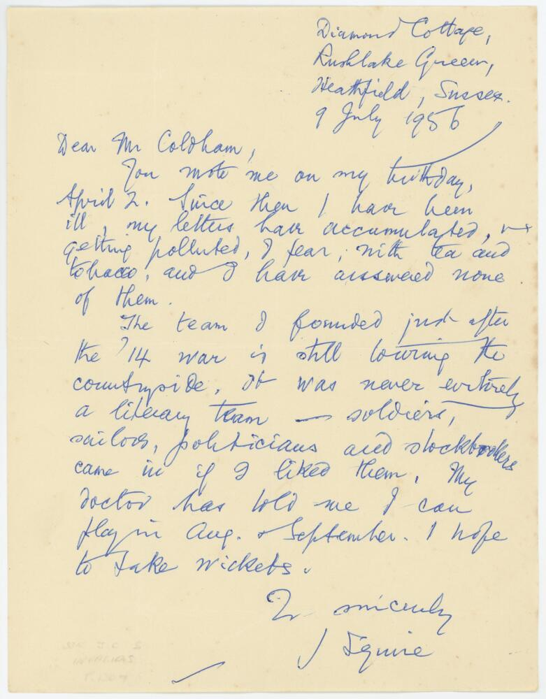 Lot 60 - Sir John Collings Squire, journalist, poet and playwright (1884-1958). Single page handwritten