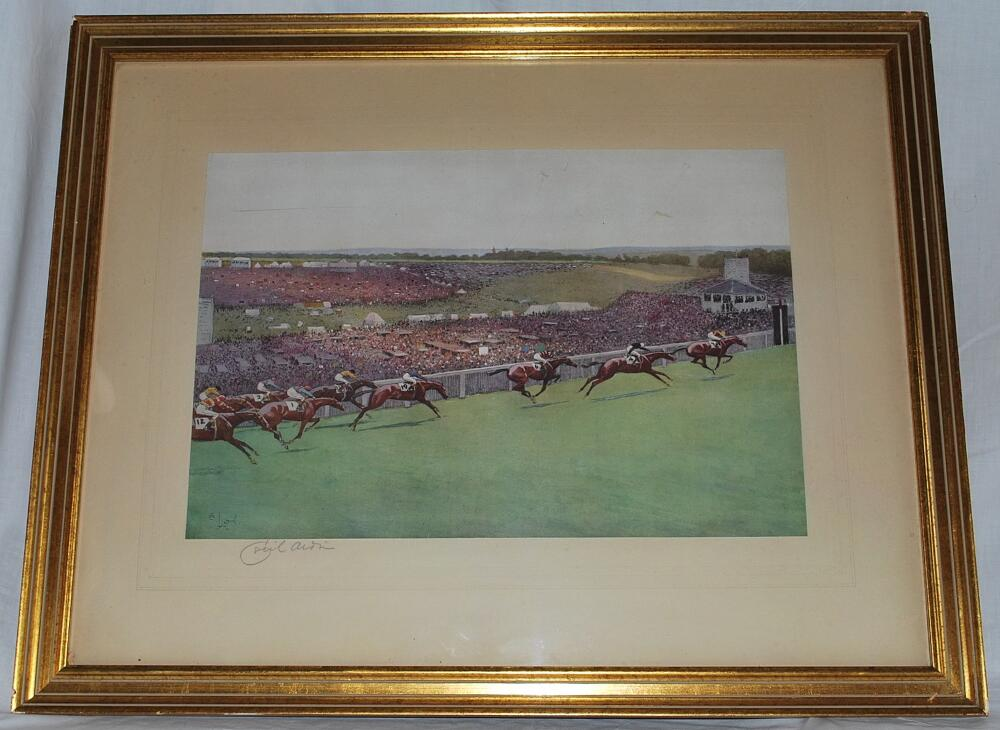 Lot 1554 - Horse Racing. 'The Start and the Finish of the 1923 Epsom Derby'. A pair of original limited edition
