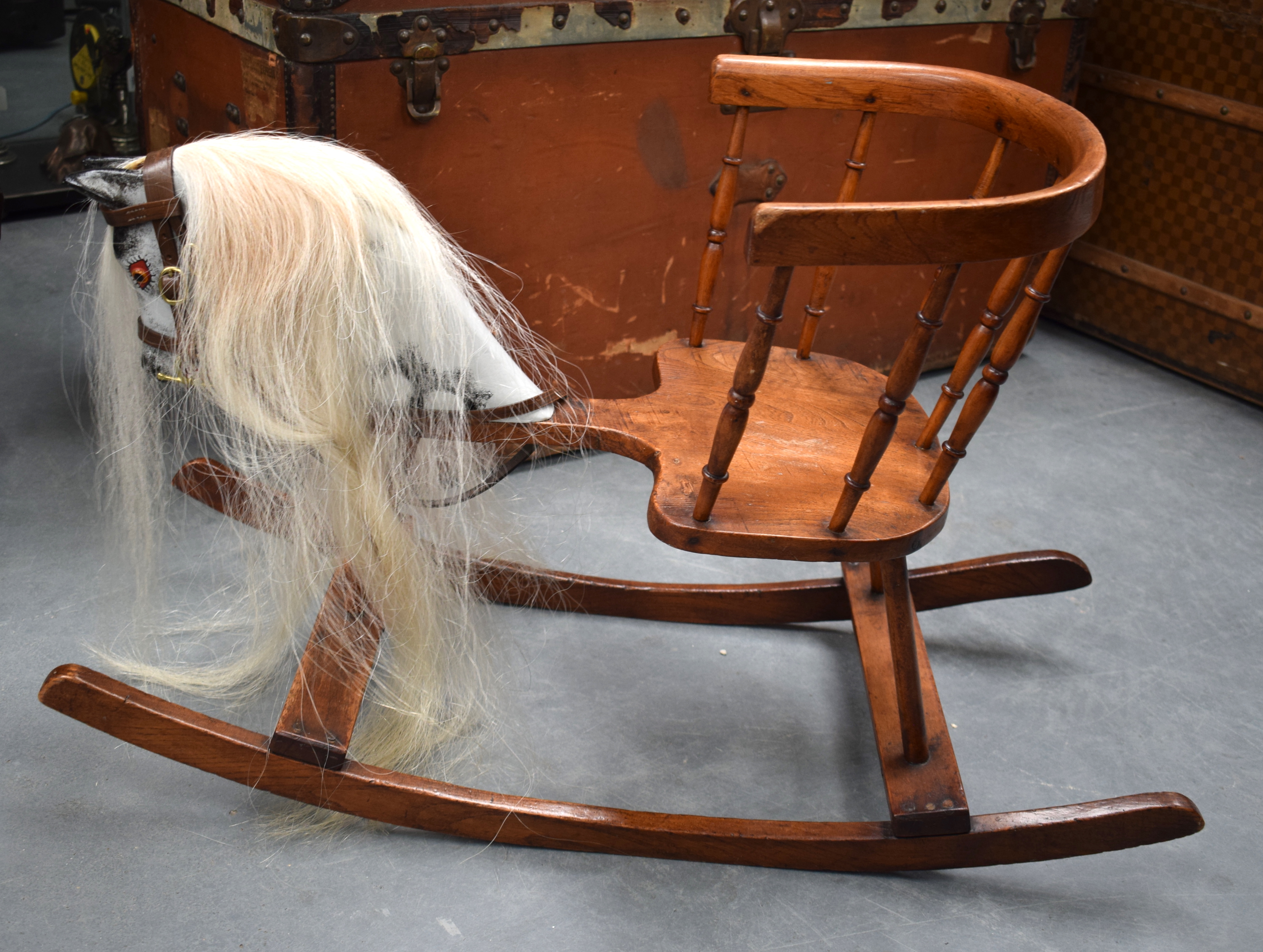 Lot 633 - AN UNUSUAL EDWARDIAN CHILDS ROCKING HORSE CHAIR. 75 cm x 40 cm.