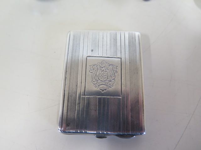 Assorted silver items, including a Vesta, masonic match case, weighable silver approx 7 troy oz - Image 2 of 5