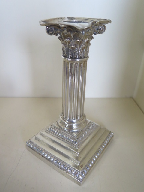 A single silver Corinthian column candlestick with filled base, hallmarked Sheffield 1891 - maker - Image 2 of 4