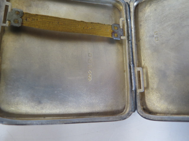 A silver cigarette case, a silver spoon and a plated sifter, silver weight approx 3.5 troy oz - Image 2 of 2