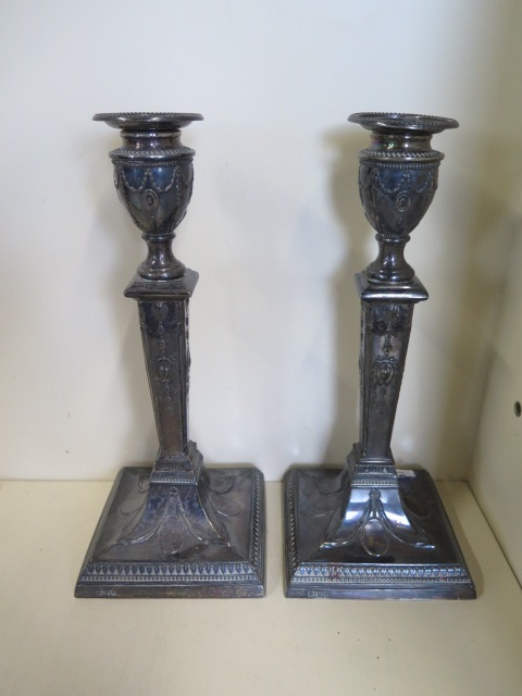 A pair of Victorian silver classical style candlesticks, hallmarked Sheffield 1894 - by Jenkins