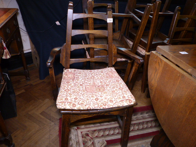 Lot 705   WEBBER DINING CHAIRS. Six Webber Furniture Oak Dining Chairs With  Tapestry Pads