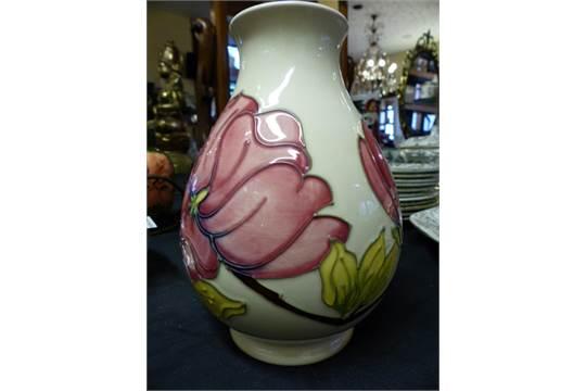 Moorcroft Magnolia Vase Moorcroft Magnolia Bulbous Vase On Pink