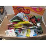 Box of Assorted Items incl Pencil cases, Activity books, Crayons etc. See Image