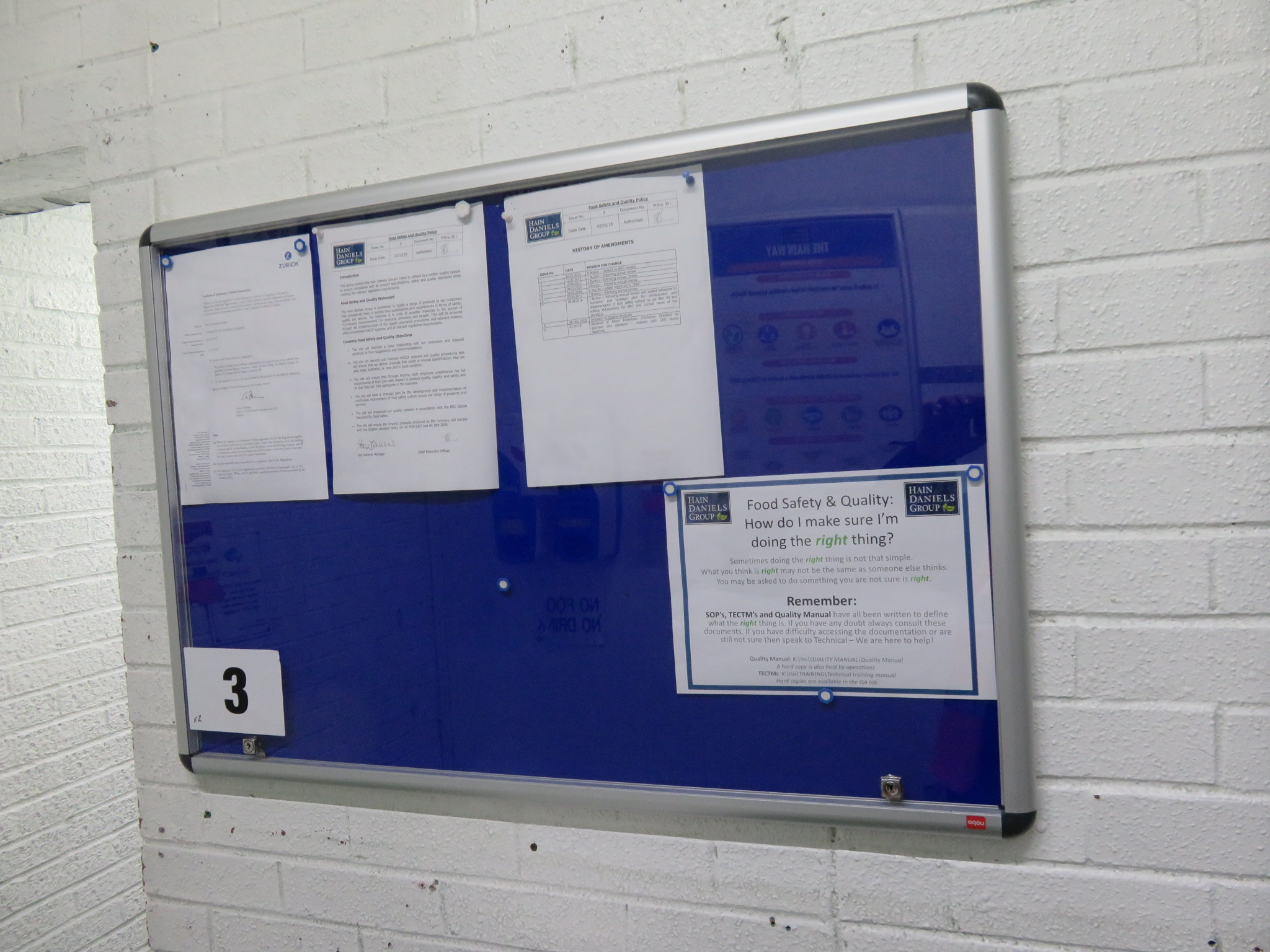 Lot 3 - 2 x Wall mounted Display Boards glass fronted. Approx. 950 x 650mm high and 1200 x 900. Lift out £10