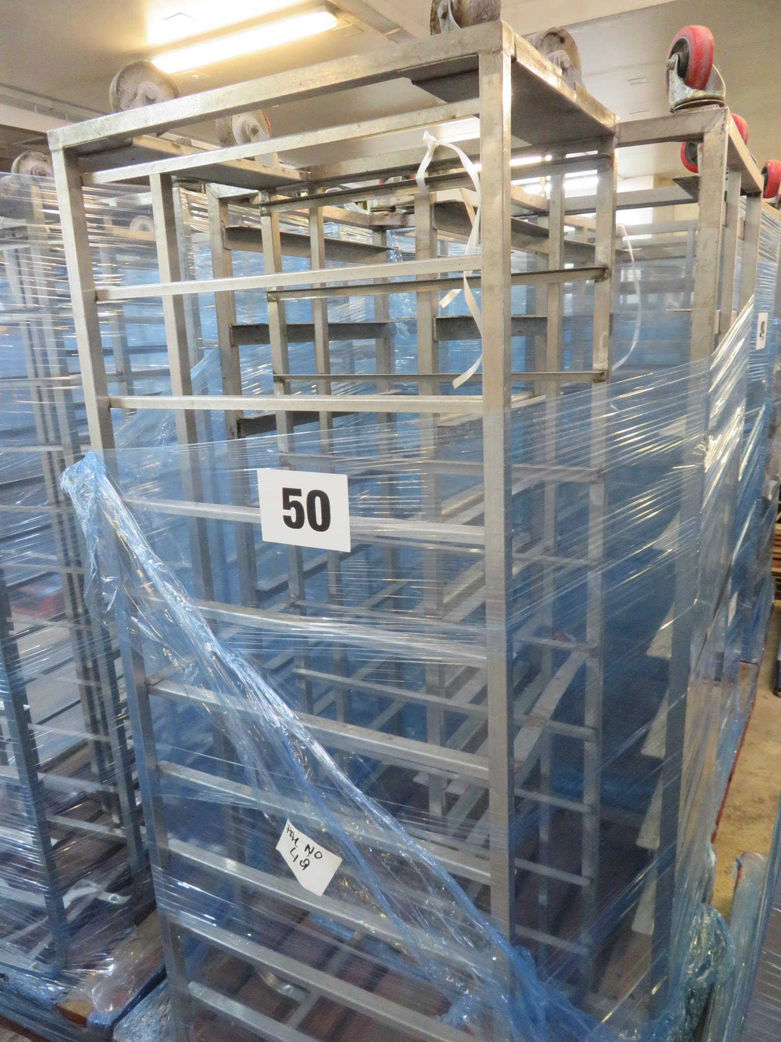 Lot 50 - 2 x S/s Racks:- 1 x S/s Rack capable of taking 10 trays.Approx 430 x 650 x 1800mm high LO£10