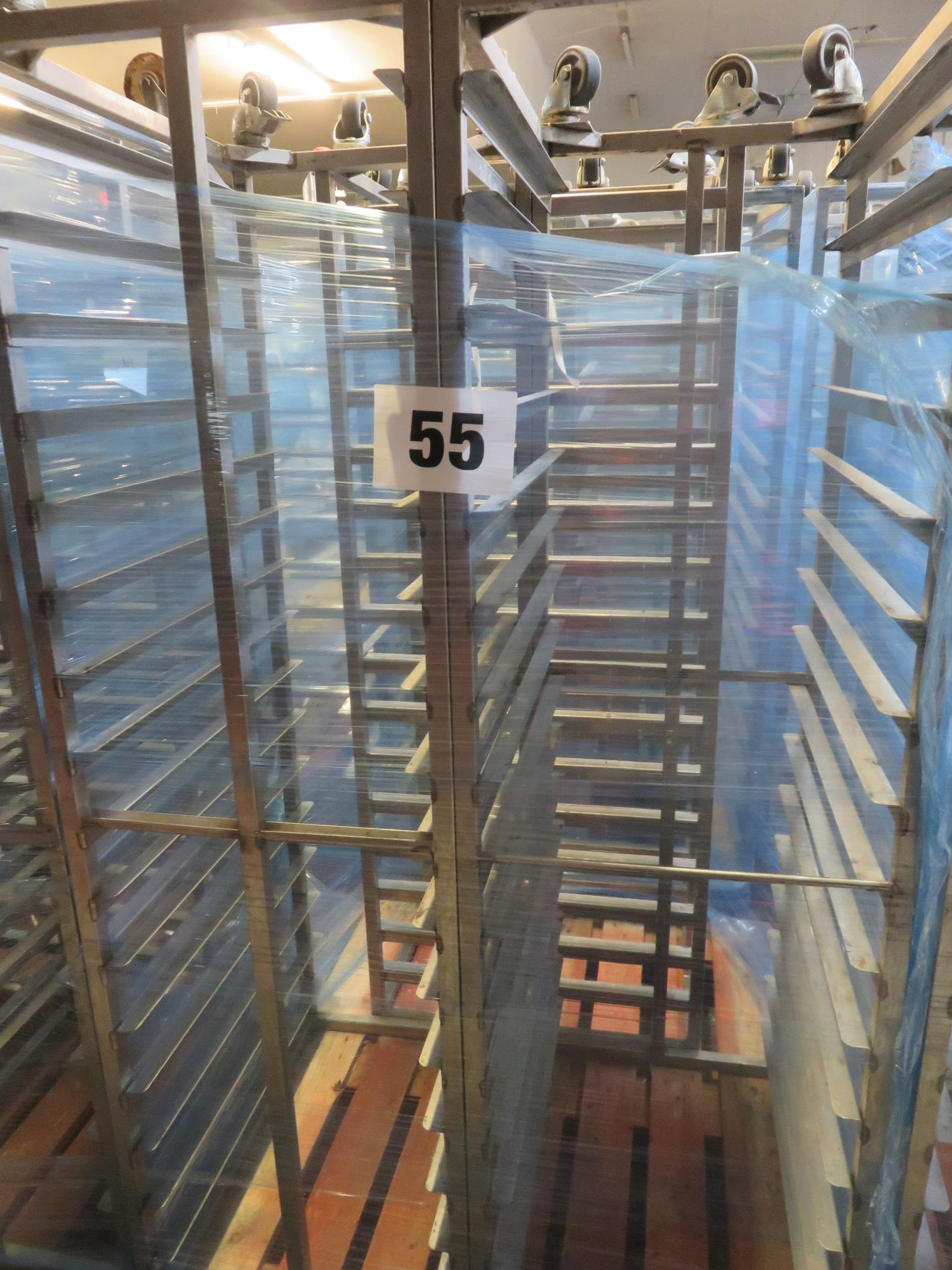 Lot 55 - 3 x S/s Racks capable of taking 16 trays. Approx.430 x 650 x 1800mm high. Mobile. LO £30