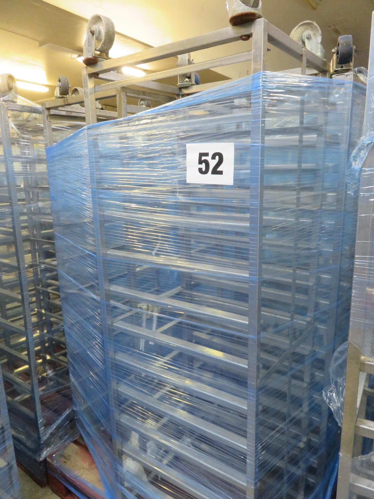 Lot 52 - 3 x S/s Racks:- 2 x S/s Racks capable of taking 12 trays.Approx.430 x 650 x 1800mm high.LO£20
