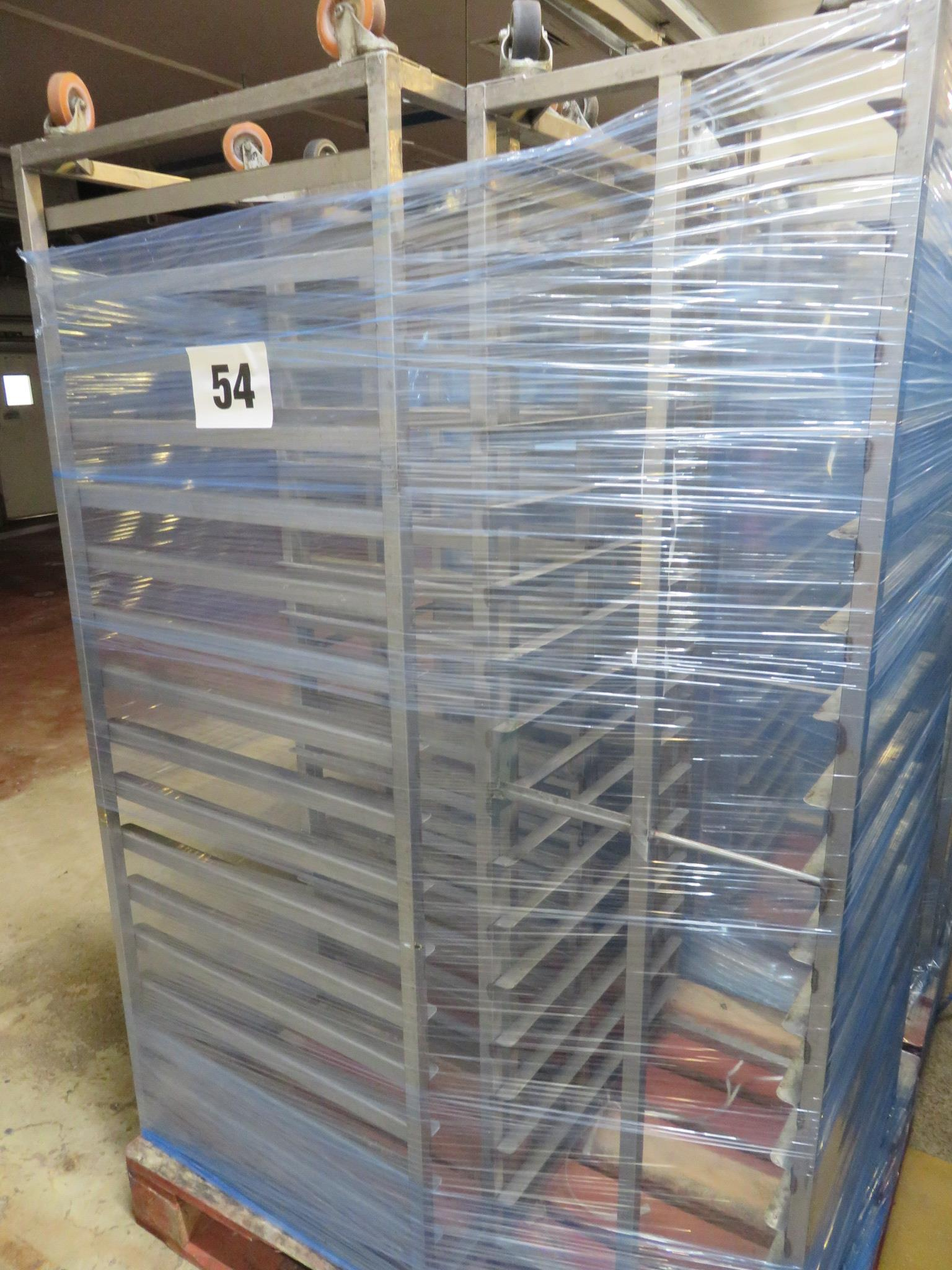 Lot 54 - 3 x S/s Racks capable of taking 16 trays. Approx. 430 x 650 x 1800mm high. Mobile LO £30
