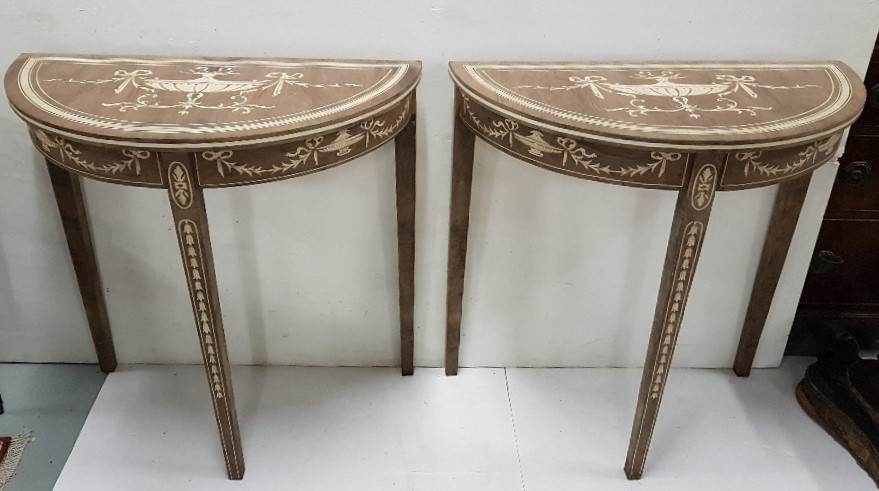 Lot 47 - Matching Pair of Sheraton Design Bow-Fronted Side Tables, featuring classic urns and swags, on 3
