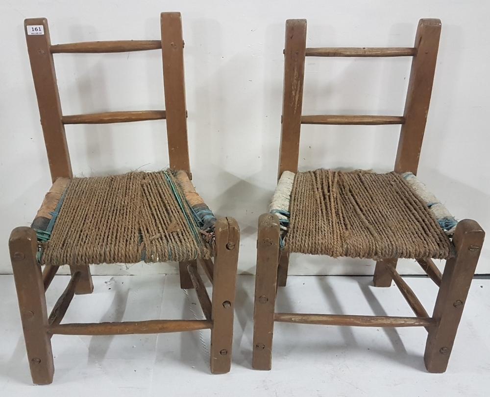 "Lot 17 - Matching Pair of Irish Sugan Kitchen Chairs, 32""h x 20""w (2)"