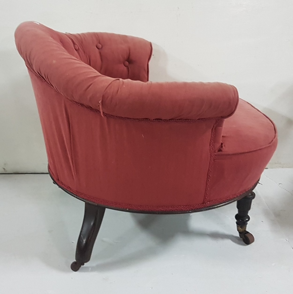 "Lot 4 - Victorian deep framed Tub Chair with low bowed back on turned front legs with upholstered seat, 31""d"