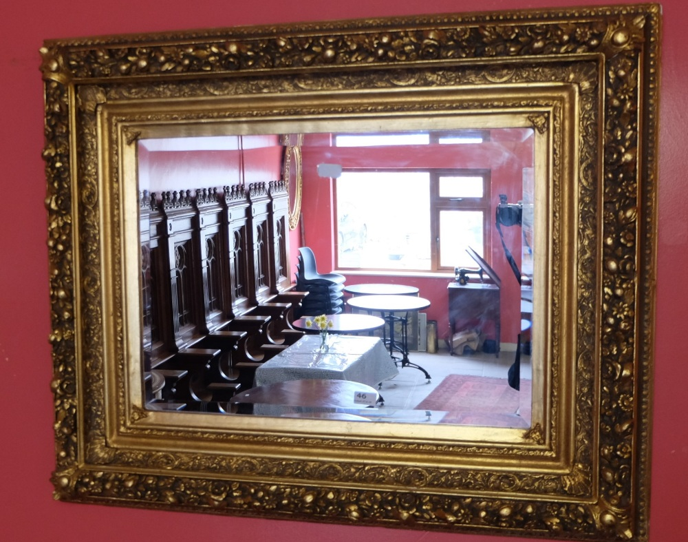 Lot 46 - Continental Carved Wood Rectangular Shaped Wall Mirror, with bevelled insert, painted gold, 86cm h x
