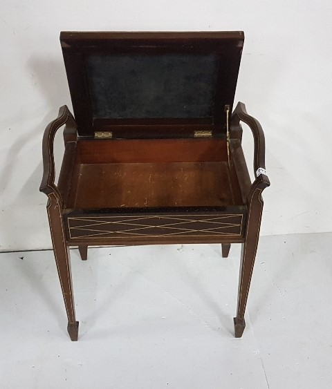 Lot 23 - Mahogany Piano Stool with hinged seat, tapered legs