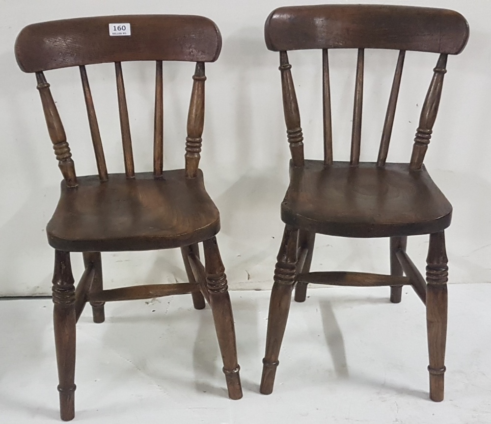 """Lot 36 - 2 x Child's Kitchen Chairs, spindle backs and turned legs, each 28""""h (2)"""