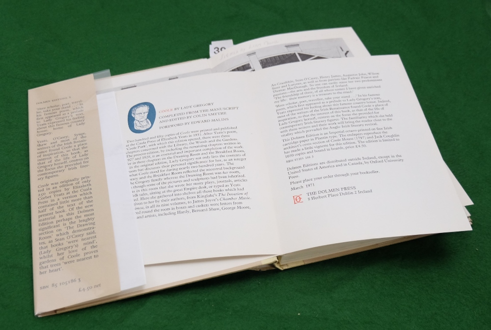 Lot 396 - BOOK - Lady Gregory, Coole, 1971, limited edition, signed inscribe copy by Liam Miller, designer
