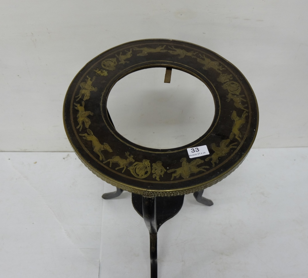 Lot 33 - Mid-19thC Ebonised Jardinière Stand, the circular and brass banded top inlaid with various brass