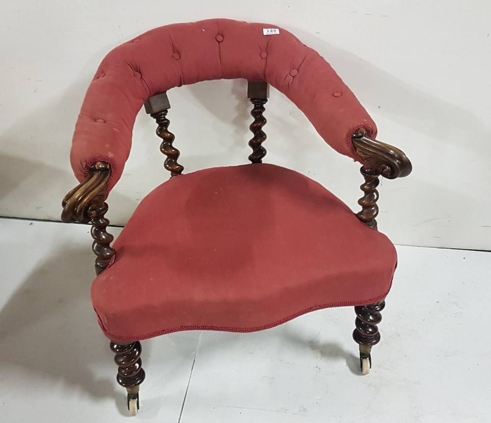 Lot 3 - Victorian mahogany framed Armchair with barley twist back and arm supports and similar front legs on