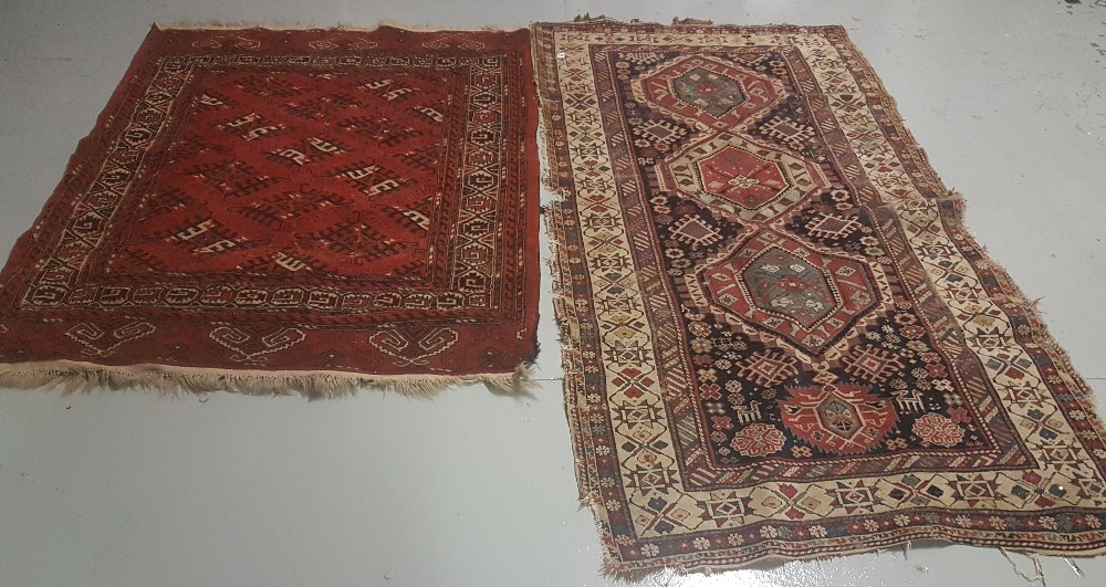 Lot 44 - 2 x floor Rugs, 1 red ground fringed 1.28 x 1.68 & 1 smaller beige ground with red and navy