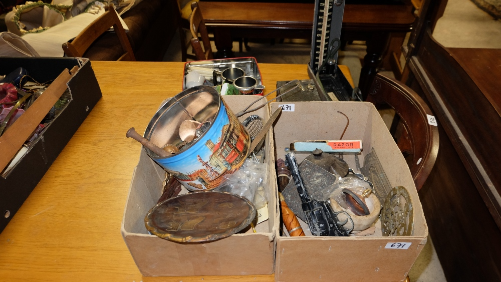 Lot 671 - 2 boxes of various small collectibles