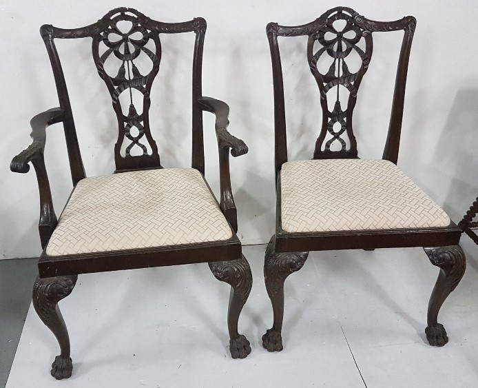 Lot 9 - Matching Set of 4 American Chippendale Design Dining Chairs, on hairy paw feet, including 2