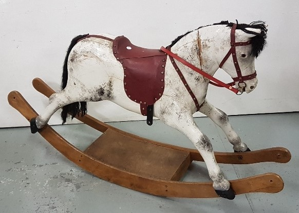 Lot 49 - 20thC Child's Wooden Rocking Horse, painted white, black horsehair mane and tail, glass eyes,