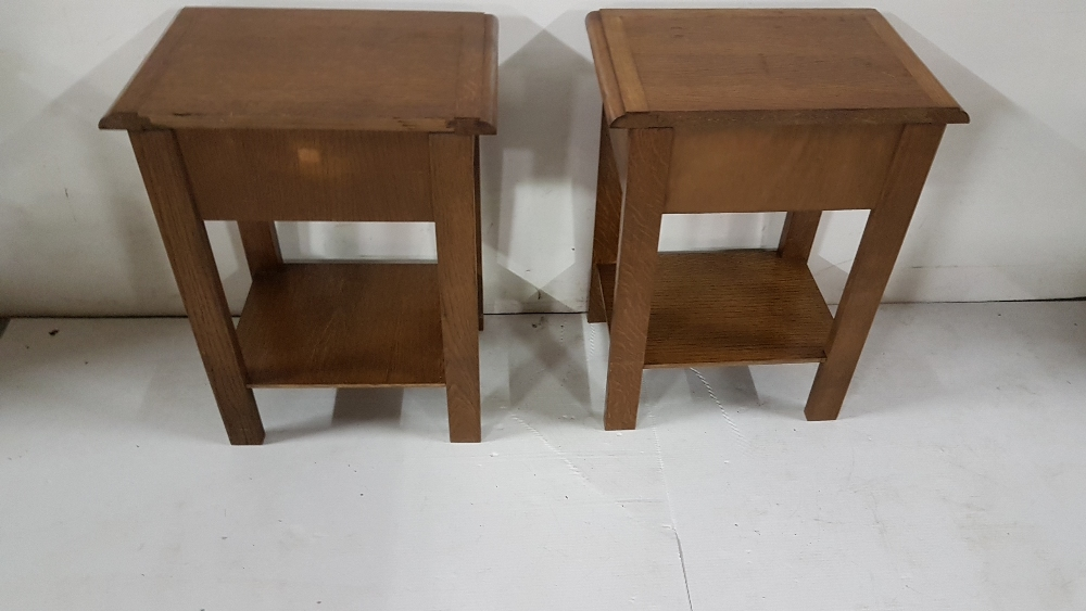 """Lot 25 - Matching pair of low Oak Bedside Cabinets, with drawer and under shelf, each 18""""w x 23""""h x 13""""d"""