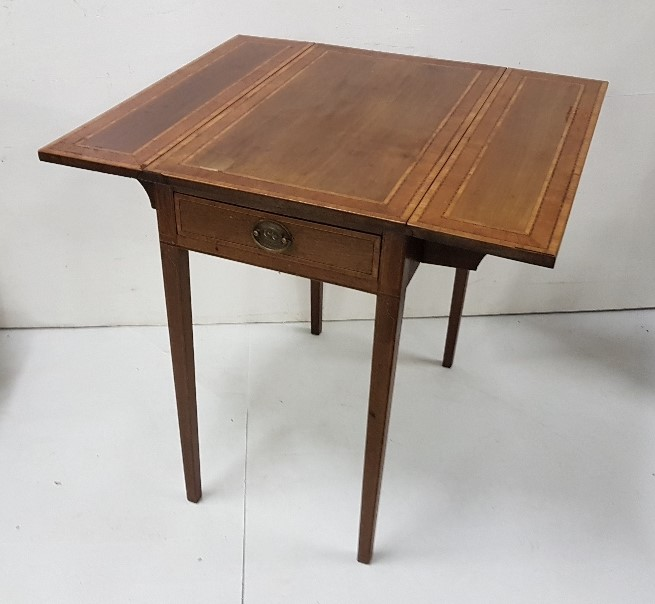 "Lot 8 - Edwardian Inlaid Mahogany Pembroke Table, with an apron drawer, on tapered legs, drop ends, 27""d,"