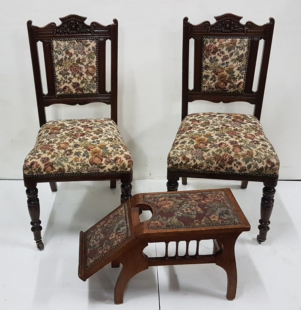 Lot 16 - Matching pair of Edwardian walnut Side Chairs with floral padded seats and backs, turned front