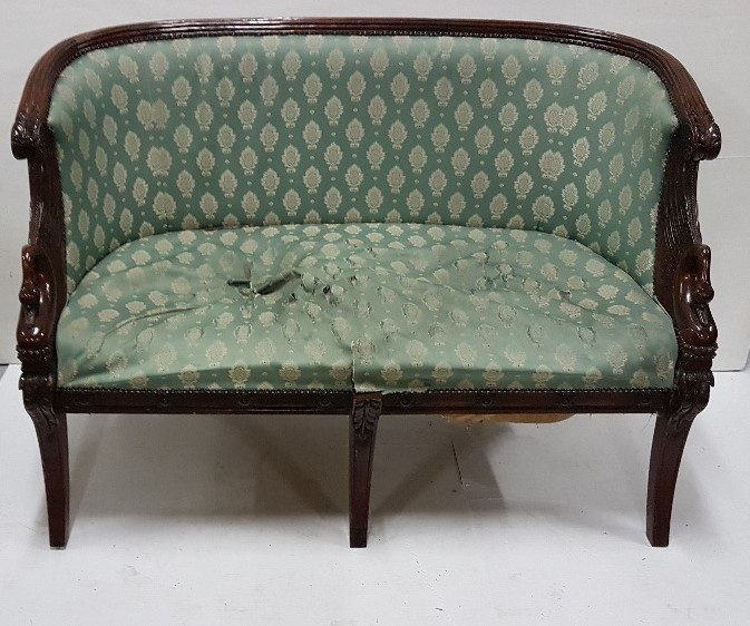 Lot 30 - 2-Seater Mahogany and Framed Settee, green and gold padded back and seat, swan neck and wing