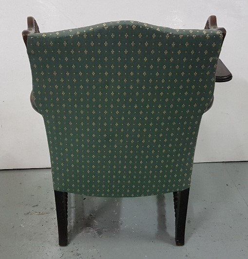 Lot 6 - 19thC Oak-Framed Reading Armchair, with bergere wings and sides, bobbin stretcher legs, hinged