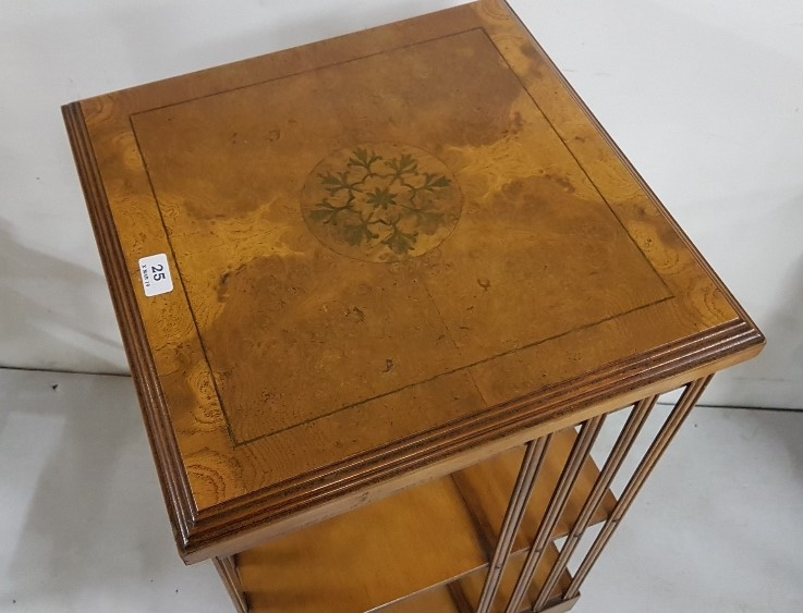 """Lot 28 - Revolving walnut Bookcase with floral inlaid top, 18""""sq top x 34""""h"""