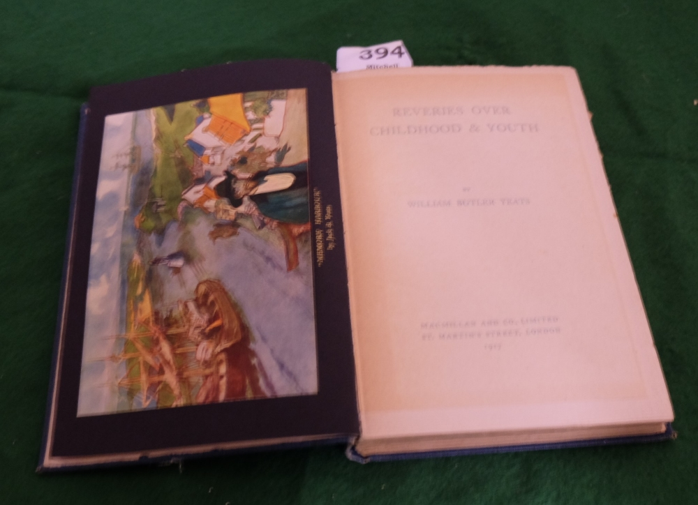Lot 394 - BOOK - WB Yeats, Reveries over Childhood and Youth, 1917, First Edition, illustrated in colour and B