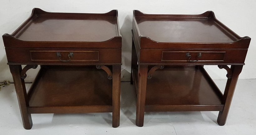"""Lot 34 - Matching Pair of mahogany low sized Tray Top Side Tables, stretcher shelf, each 20""""sq x 19.5""""h"""