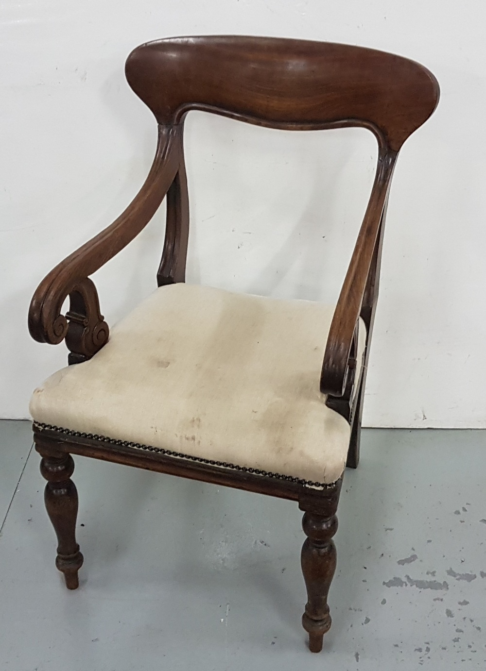 Lot 42 - WMIV Mahogany Carver Armchair, with upholstered seat, turned front legs