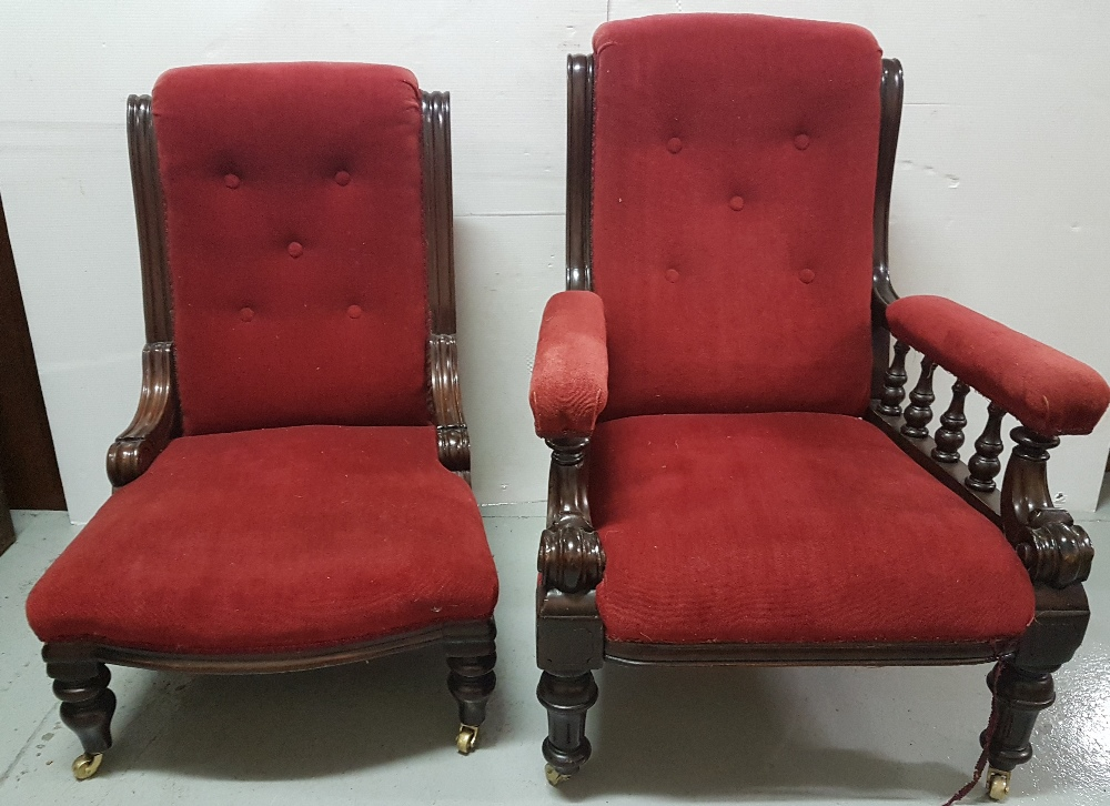Lot 5 - Pair of Ladys & Gents Victorian Mahogany framed Armchairs, red velvet fabric, turned legs