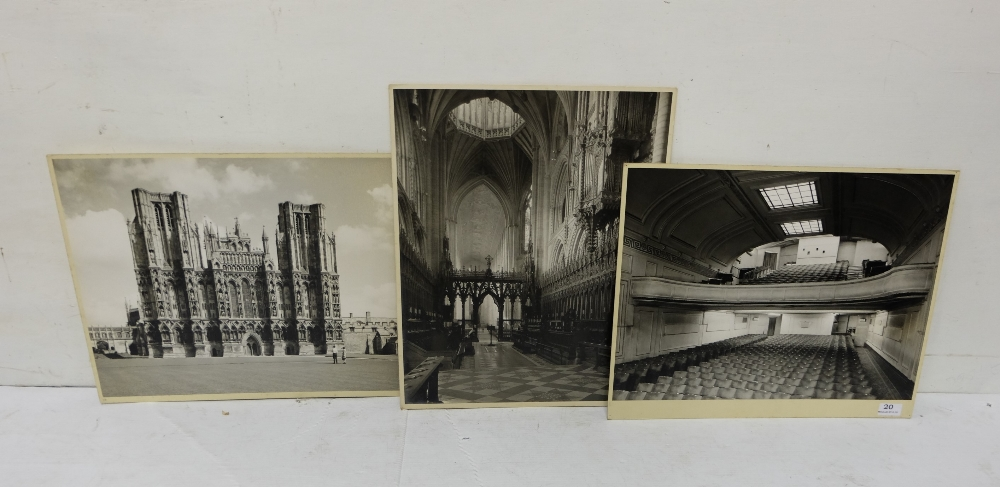 Lot 20 - 3 black and white English exhibition Photos by John Stone (Regent St. Cinema, Wells Cathedral &
