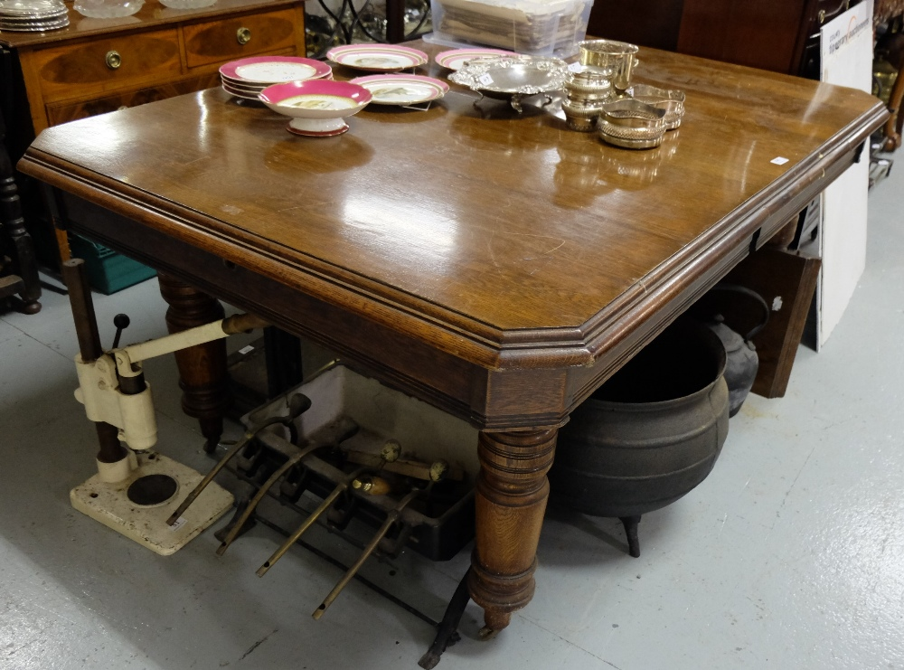Lot 51 - Edw Oak Extending Dining Table, with large round legs (1 removable leaf), 2mW x 109cmD x 80cmH