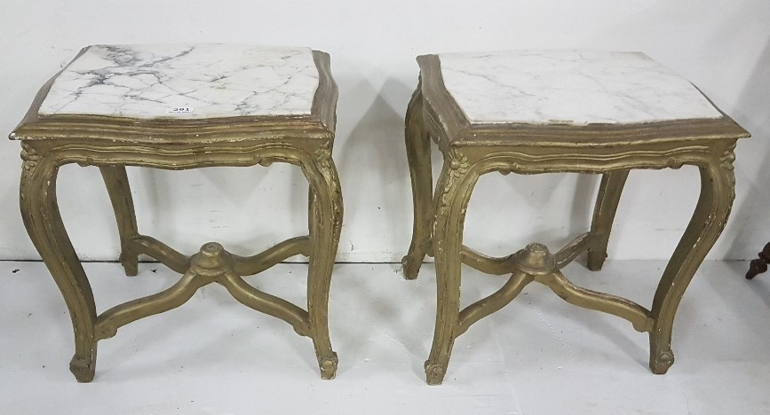 Lot 21 - Matching pair of white marble top low sized Side Tables, on carved wood bases, painted gold,