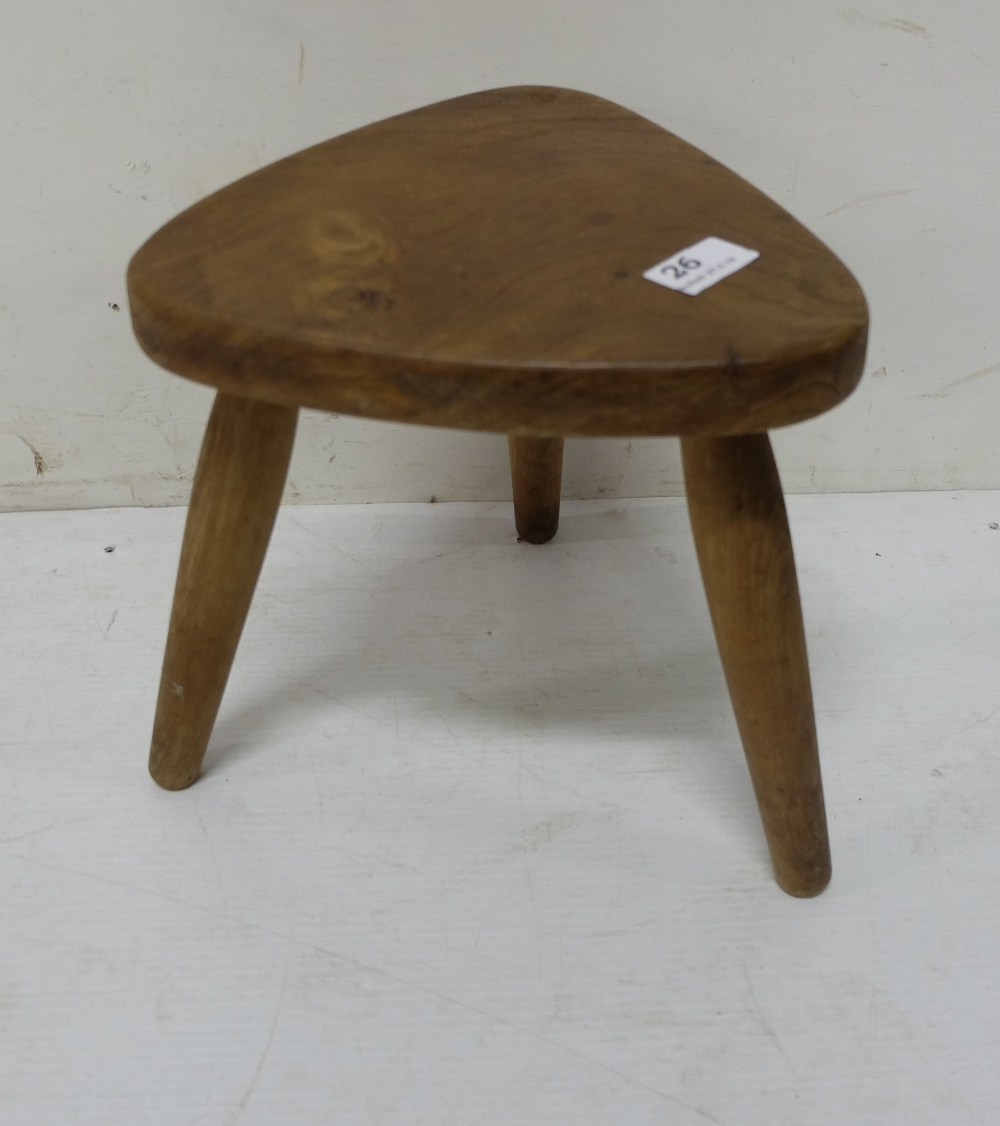 Lot 26 - Elm Wooden 3 legged Milking Stool, triangular top, 26cm high x 24cm d